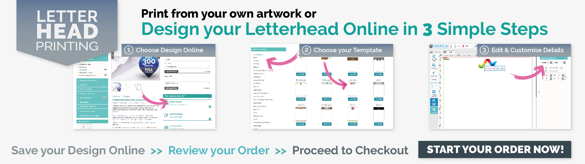Design, Print & Order Letterhead online in 3 simple steps!